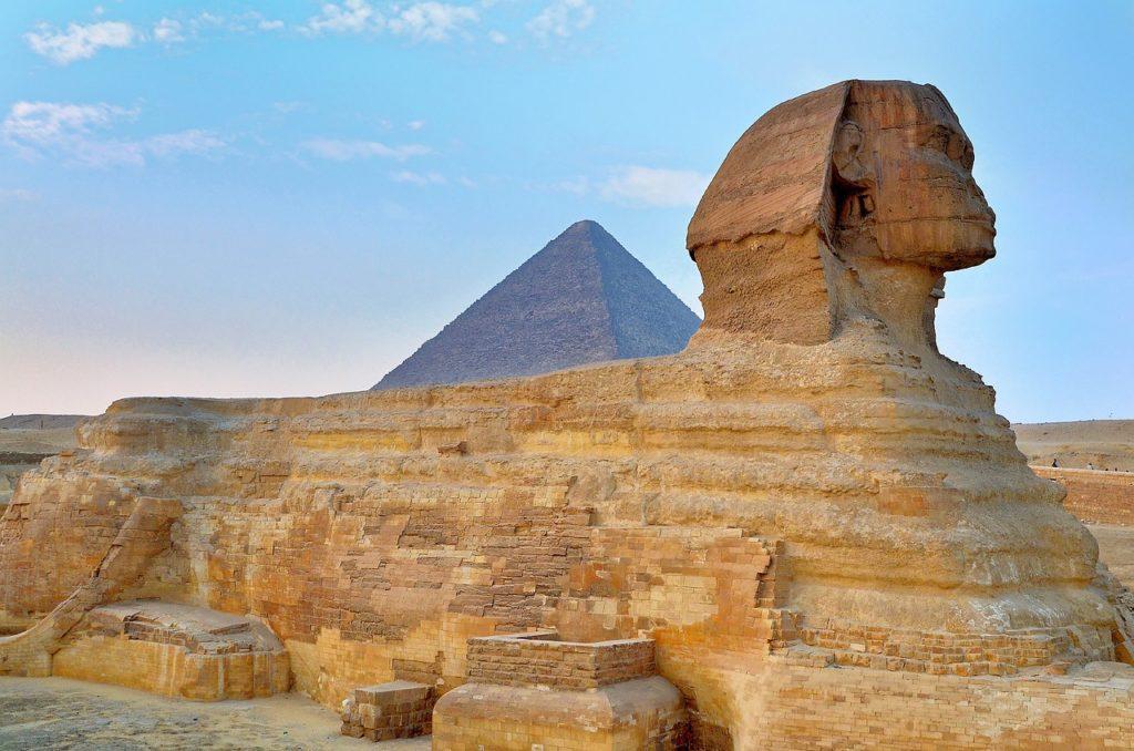 Pyramids at Giza and Sphinx